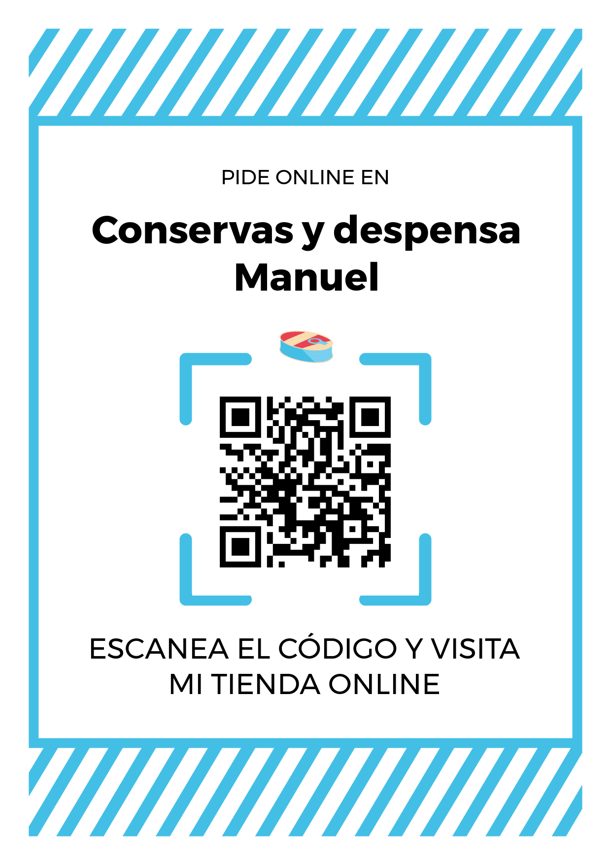 Cartel Póster de Código QR para tienda de Conservas y despensa