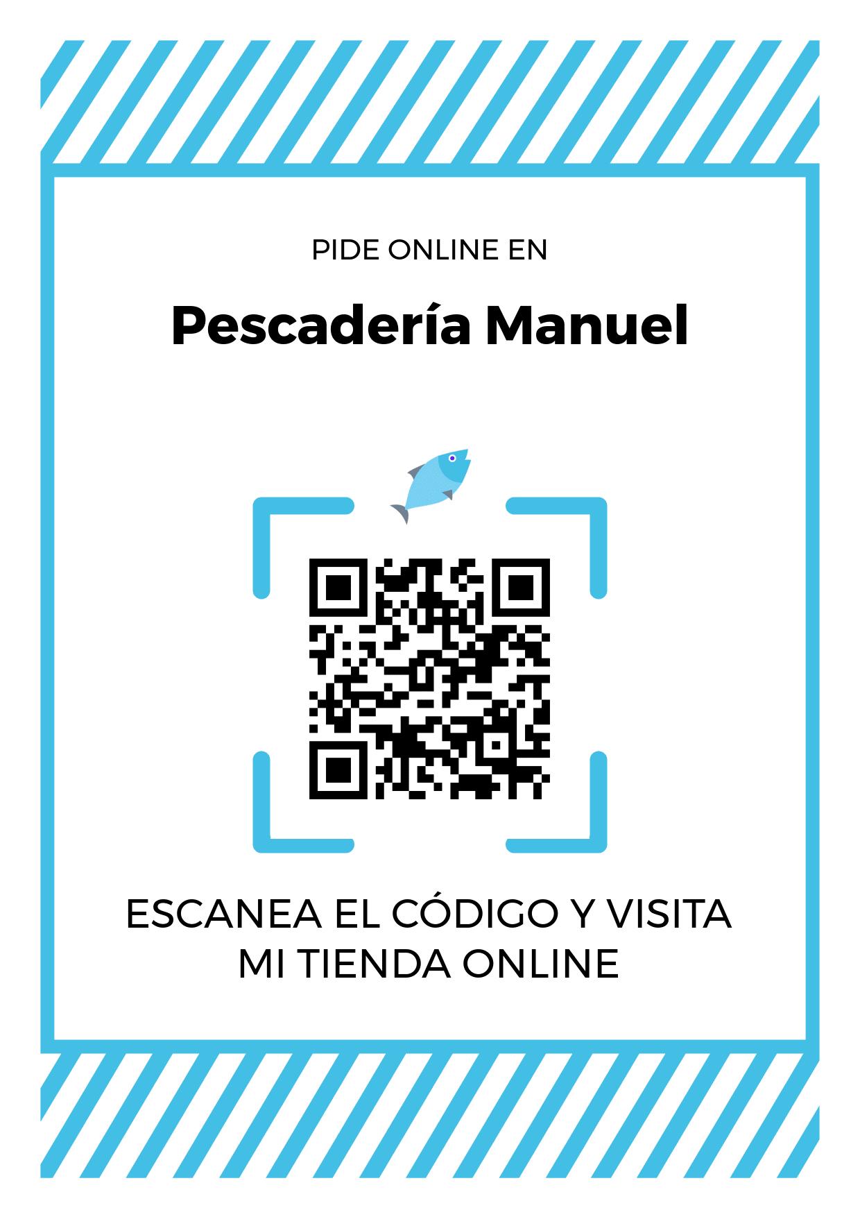 Cartel Póster de Código QR para tienda de Pescadería