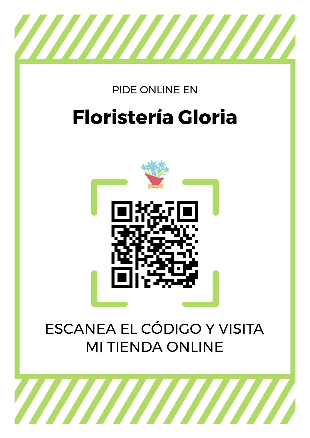Cartel Póster de Código QR para tienda de Floristería