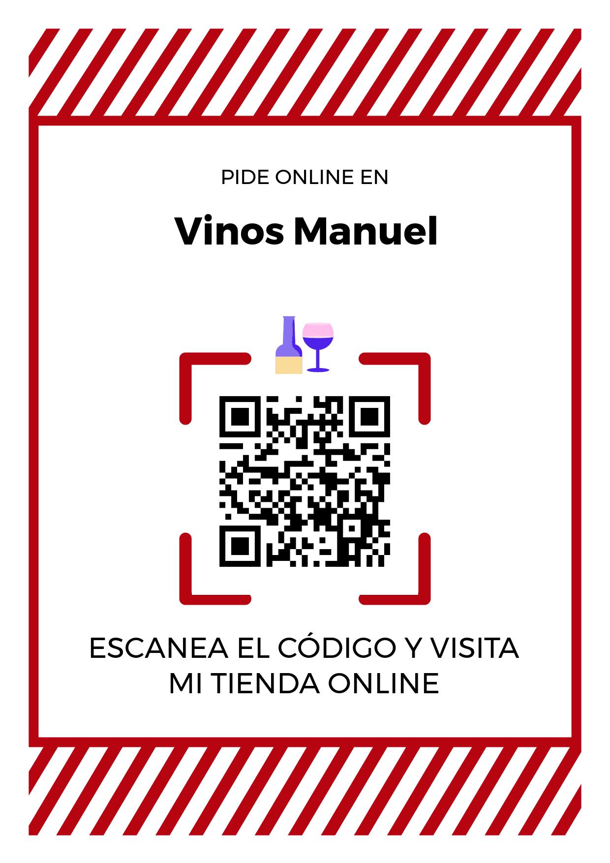 Cartel Póster de Código QR para tienda de Vinos