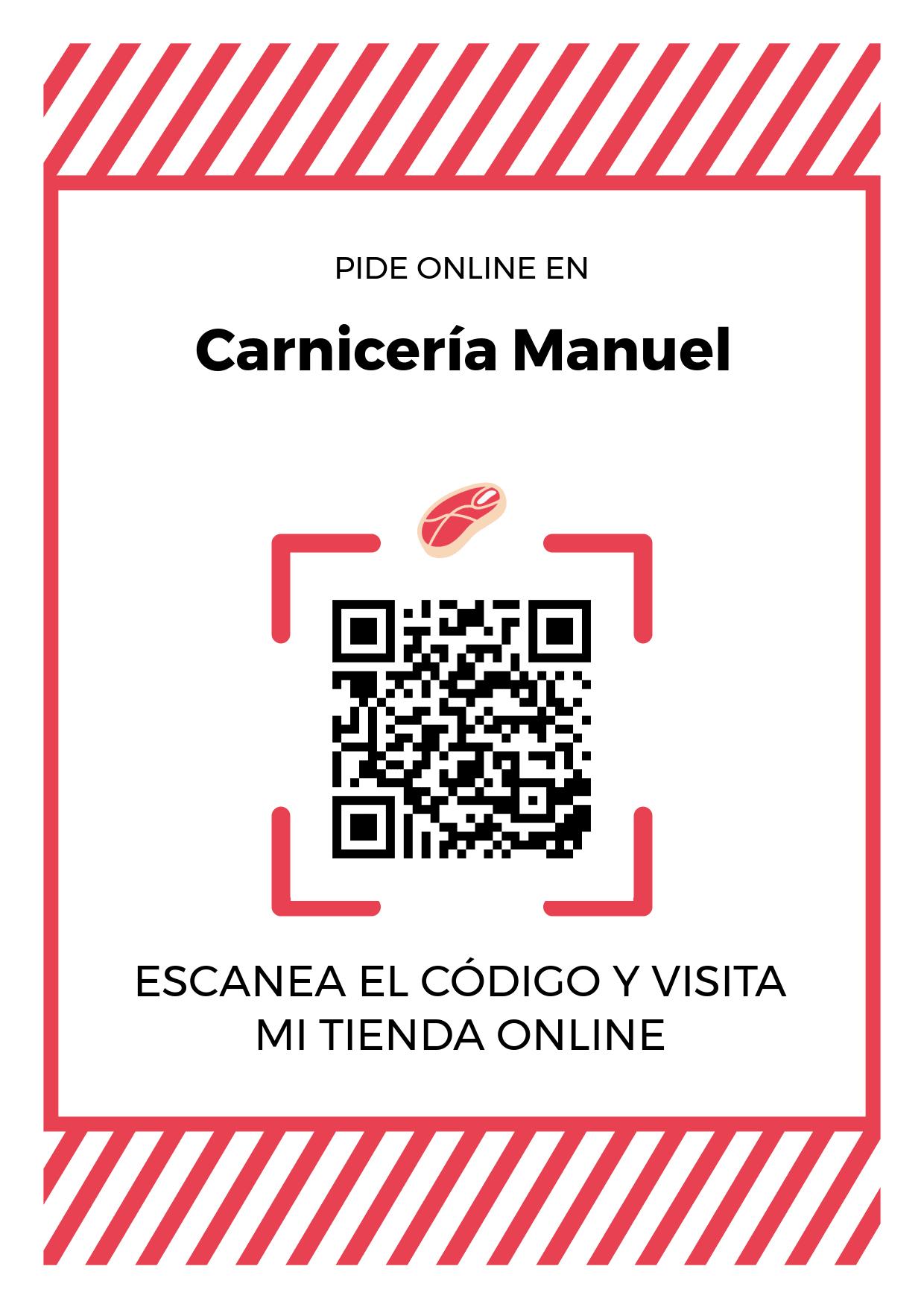 Cartel Póster de Código QR para tienda de Carnicería