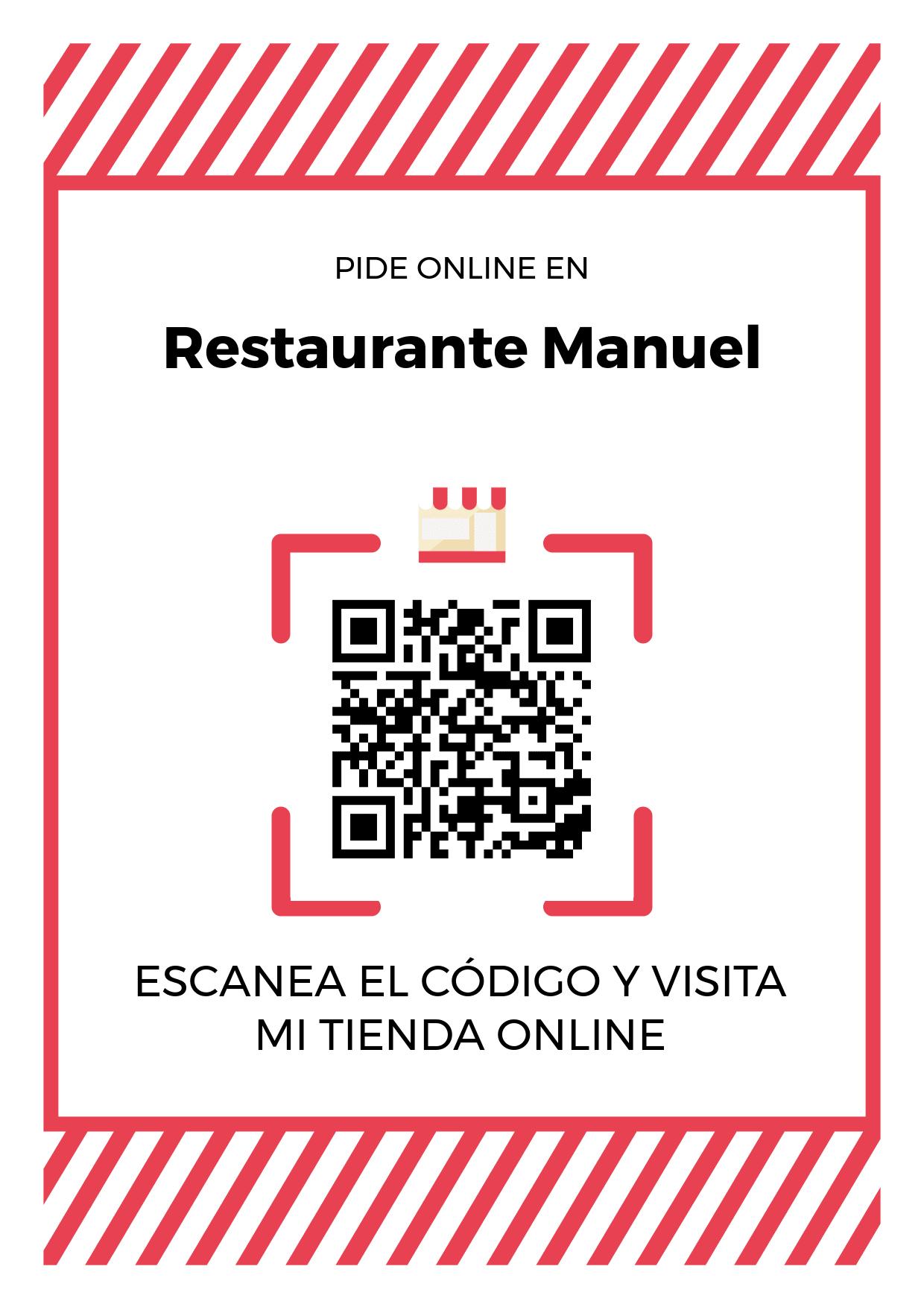 Cartel Póster de Código QR para tienda de Restaurante