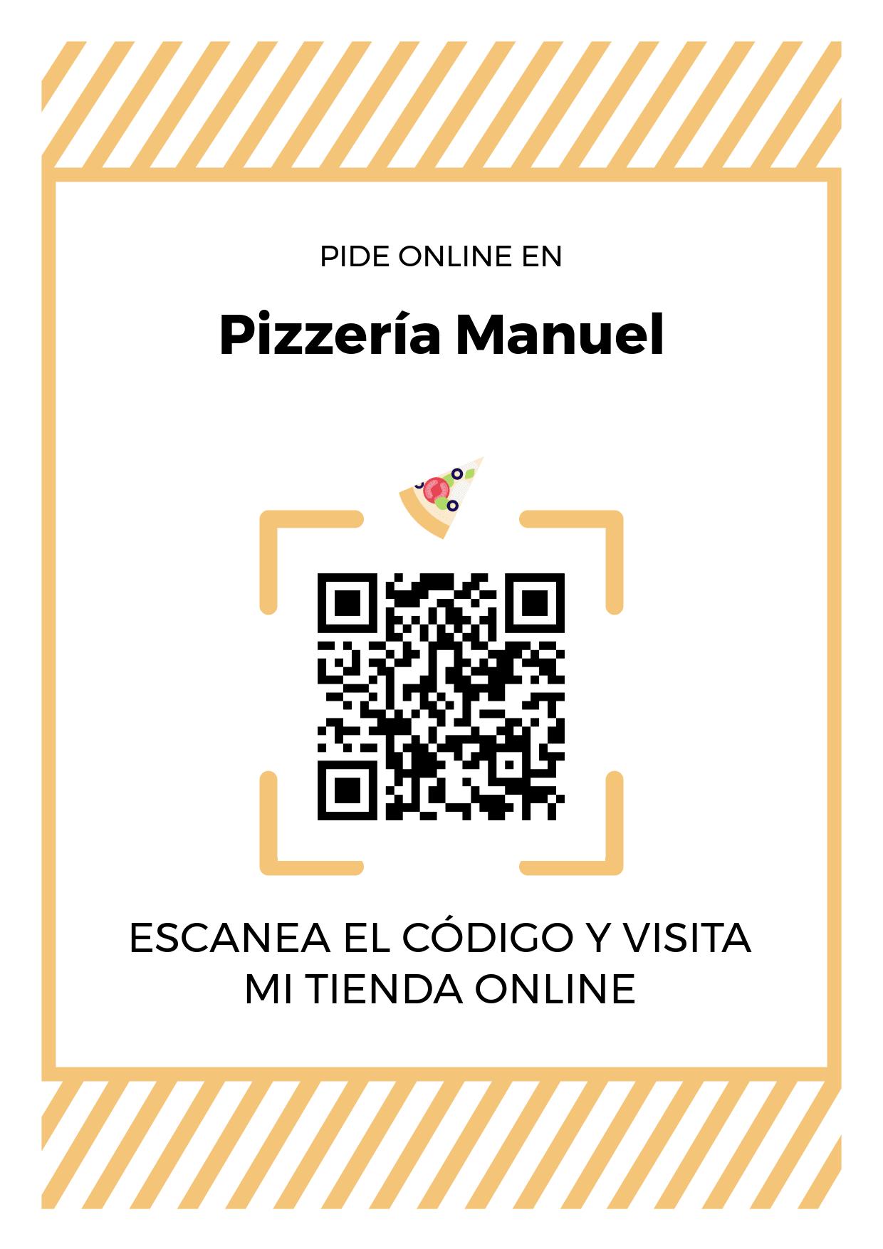 Cartel Póster de Código QR para tienda de Pizzería