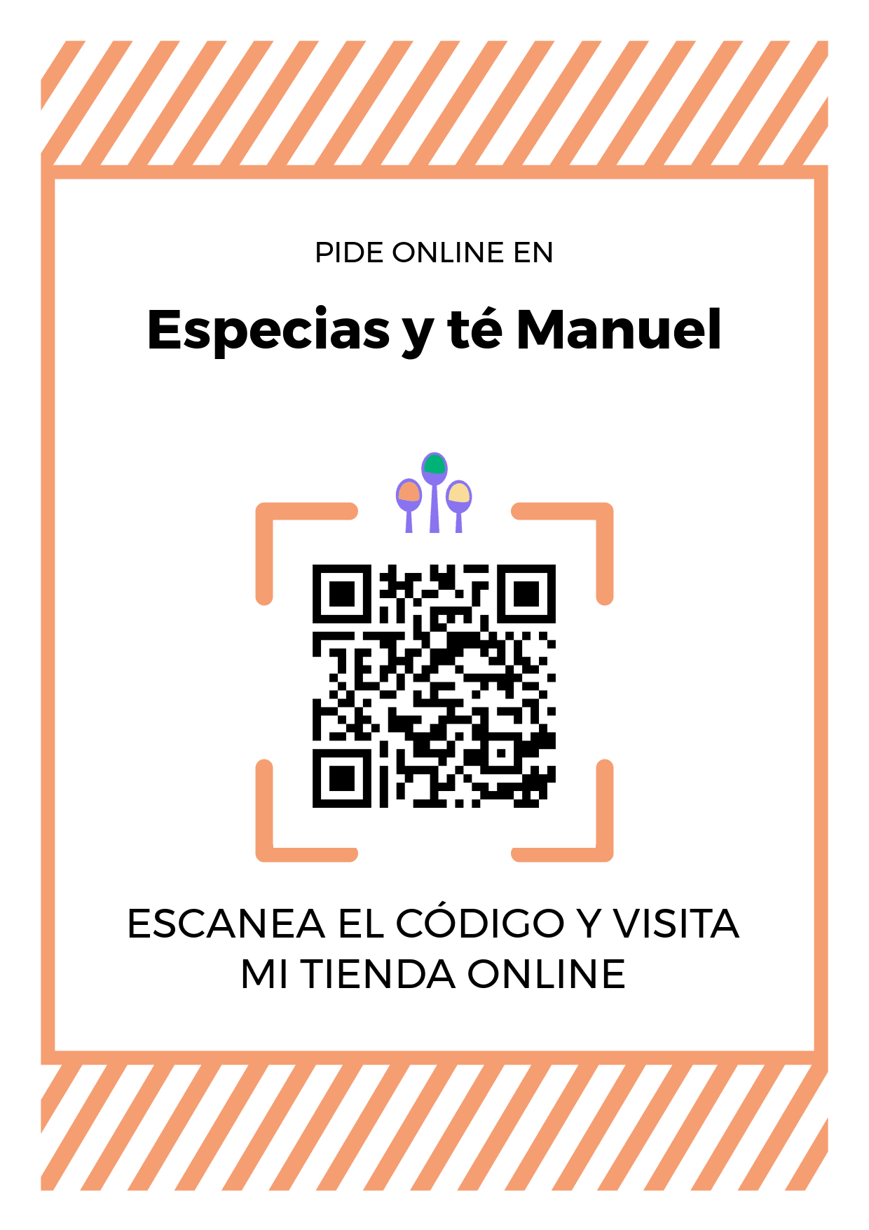 Cartel Póster de Código QR para tienda de Especias y té