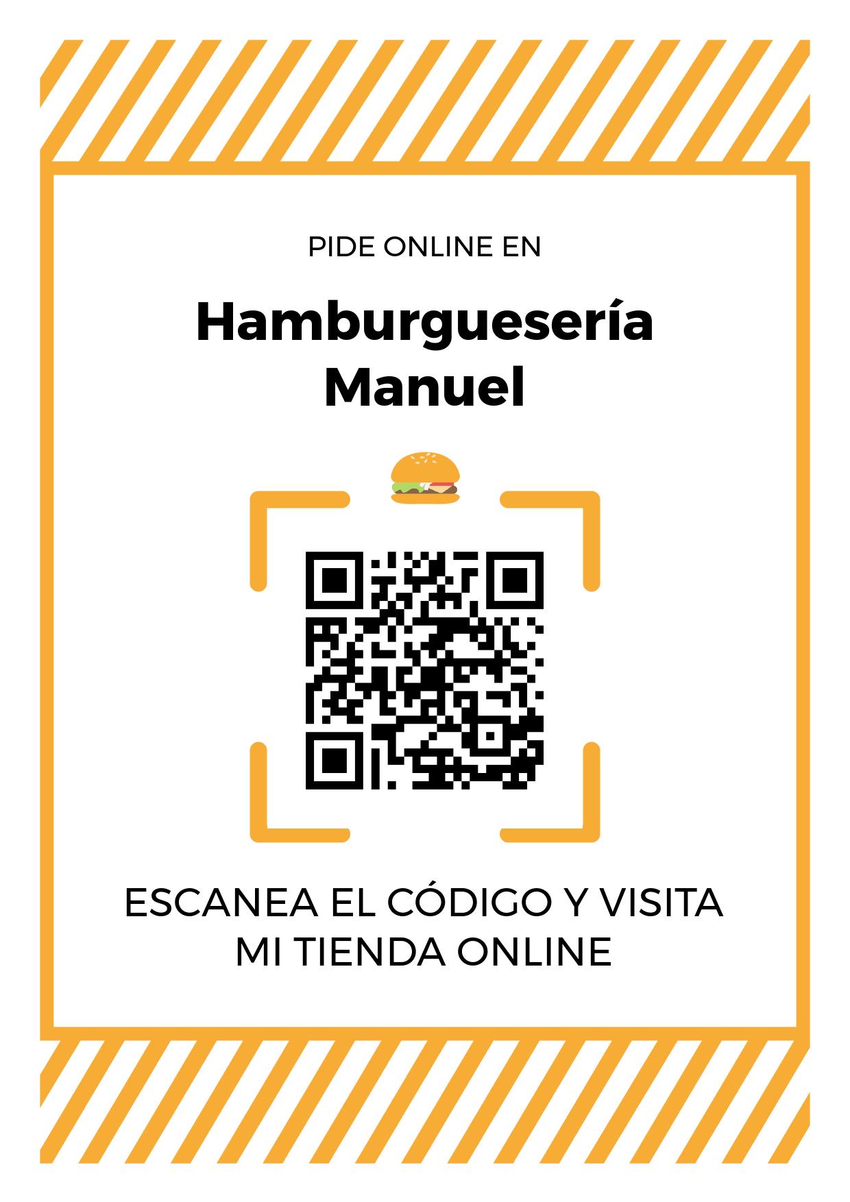 Cartel Póster de Código QR para tienda de Hamburguesería