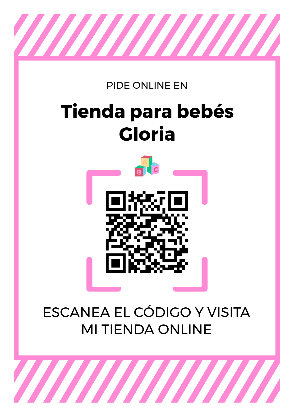 Cartel Póster de Código QR para tienda de Tienda para bebés