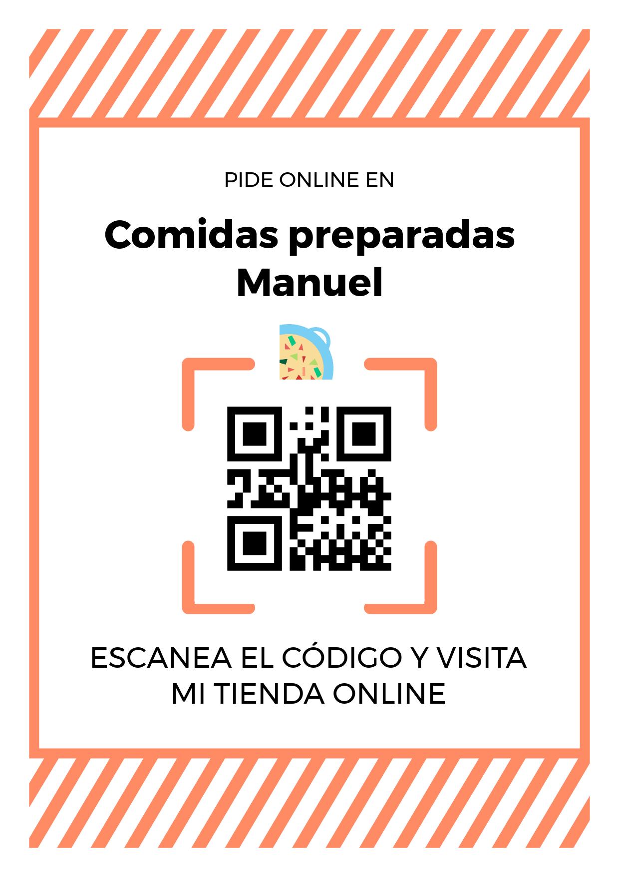 Cartel Póster de Código QR para tienda de Comidas preparadas