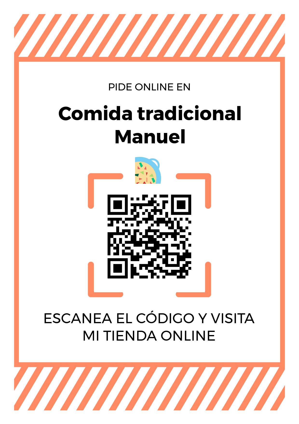 Cartel Póster de Código QR para tienda de Comida tradicional