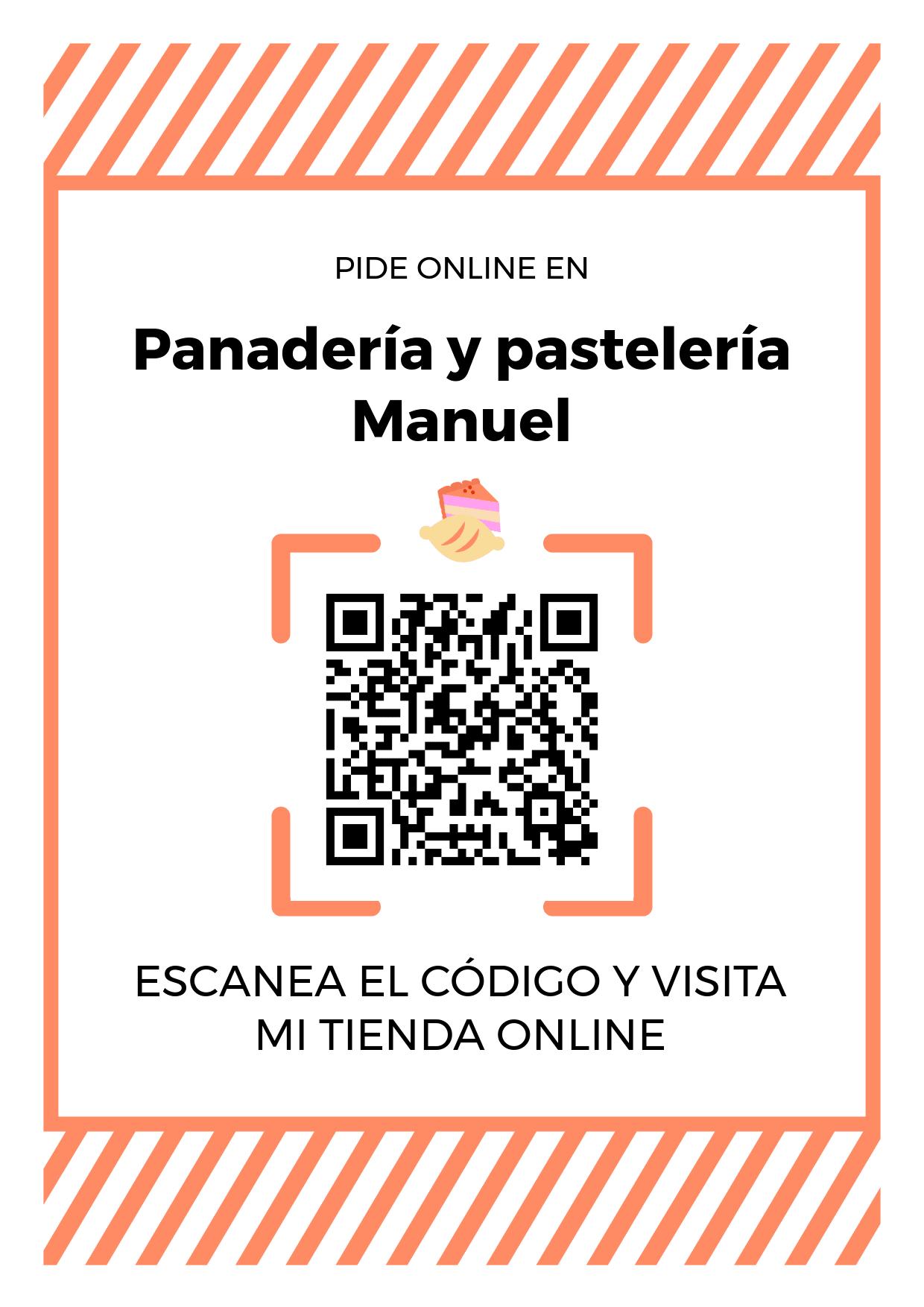 Cartel Póster de Código QR para tienda de Panadería y pastelería