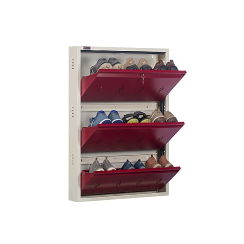 DNS Metal 9 Pair Shoe Rack Maroon| Premium Matte Finish
