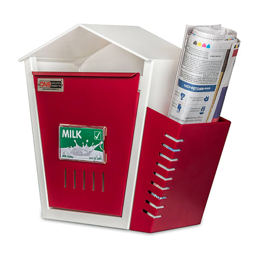 DNS Milk Box With Newspaper Holder Maroon With Lock |