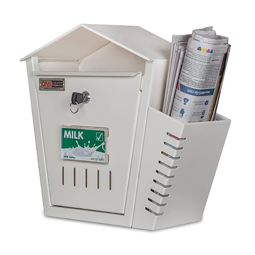 DNS Milk Box With Newspaper Holder Ivory With Lock