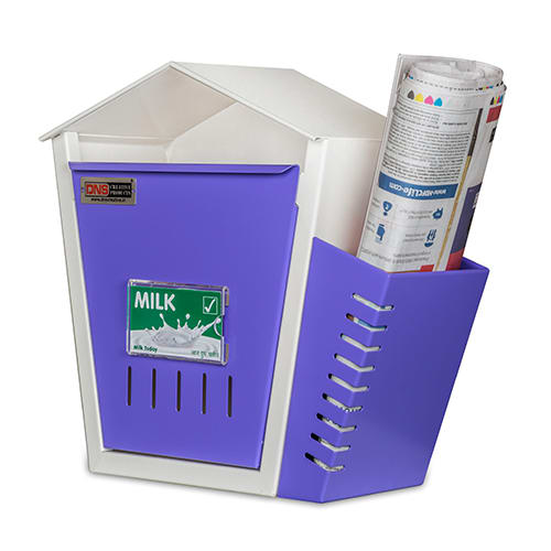 DNS Milk Box With Newspaper Holder Purple With Lock