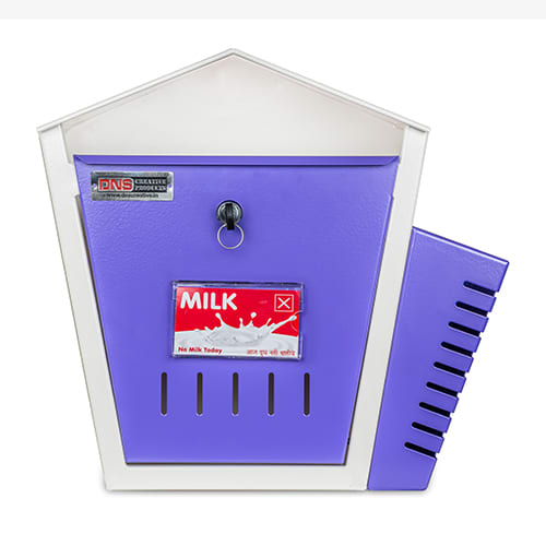DNS Milk Box With Newspaper Holder Purple With Lock |