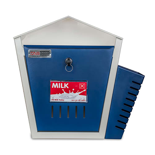 DNS Milk Box With Newspaper Holder Blue With Lock