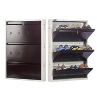 DNS Metal 9 Pair Shoe Rack Brown | Premium Matte Finish