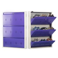 DNS Metal 9 Pair Shoe Rack Purple | Premium Matte Finish