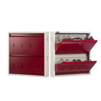 DNS Metal 6 Pair Shoe Rack Maroon | Premium Matte Finish
