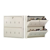 DNS Metal 6 Pair Shoe Rack Ivory | Premium Matte Finish