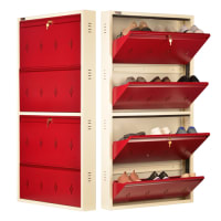 DNS Metal 12 Pair Shoe Rack Maroon | Premium Matte Finish