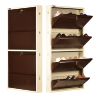 DNS Metal 12 Pair Shoe Rack Brown | Premium Matte Finish