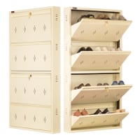 DNS Metal 12 Pair Shoe Rack Ivory | Premium Matte Finish