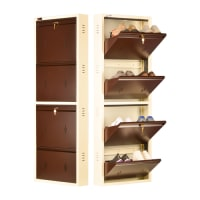 DNS Metal 8 Pair Shoe Rack Brown | Premium Matte Finish