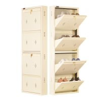 DNS Metal 8 Pair Shoe Rack Ivory | Premium Matte Finish