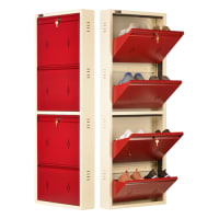 DNS Metal 8 Pair Shoe Rack Maroon | Premium Matte Finish