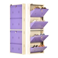 DNS Metal 8 Pair Shoe Rack Purple | Premium Matte Finish