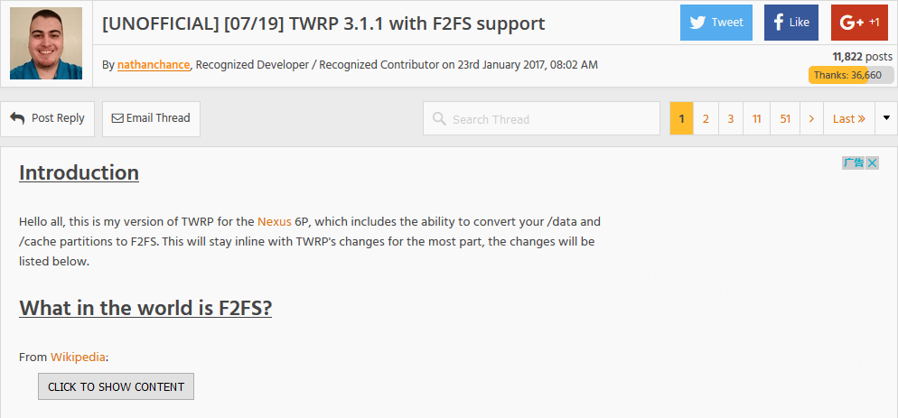 TWRP 3.1.1 with F2FS support
