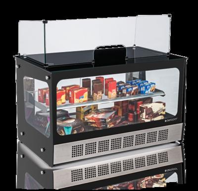Vitrine neutra caixa gourmet Elegance MGXB-110 Linha Elegance Gelopar