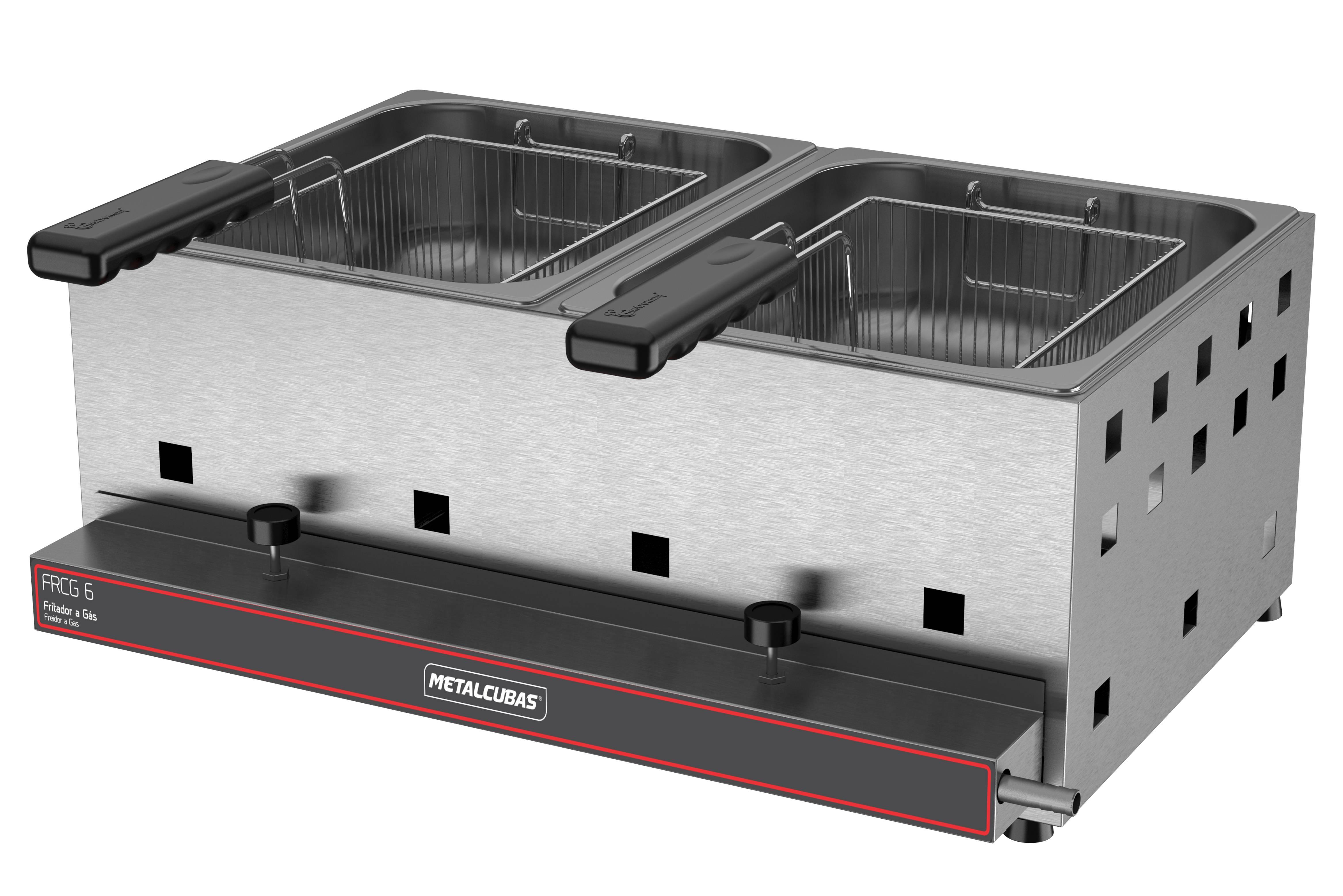 Fritadeira a gás alta pressão 02 cubas 06 litros óleo FRCG 6 Metalcubas