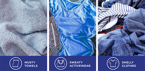 Three images showing musty towels sweaty, activewear and smelly clothes