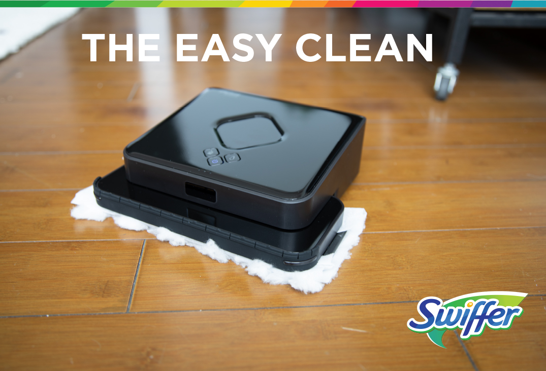 Irobot cleaning diry wood floor with swiffer heay duty wet cloth