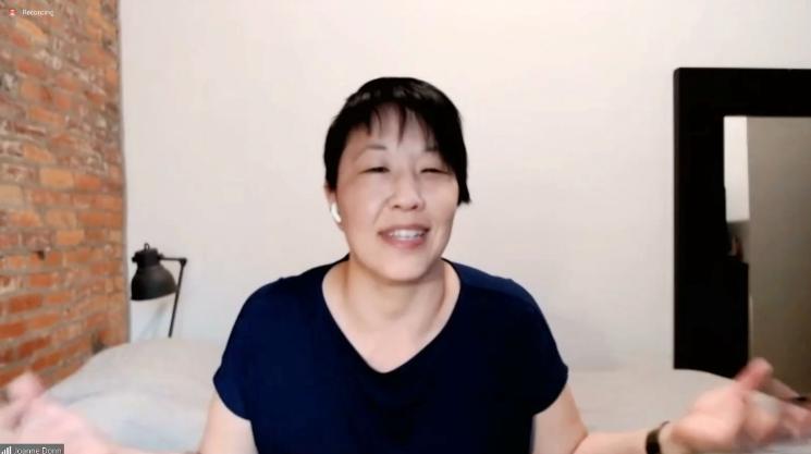 Joanne Donn, Korean American, wearing black t-shirt