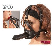 Leder-Kopfharness mit 13 cm Dildo von ZA...