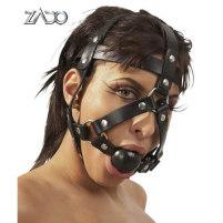 Schwarzes Kopfgeschirr mit integriertem ...