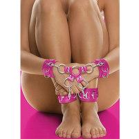 Hand- und Fussfesseln aus Leder in pink ...