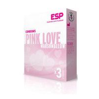 Drei Kondome mit pinker Färbung Pi...