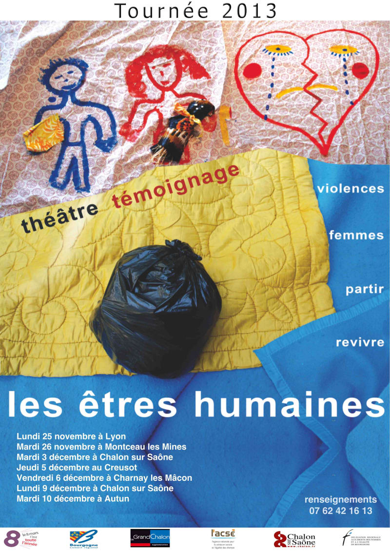 flyer de la tournée 2013, théâtre témoignage, violences, femmes, partir, revivre
