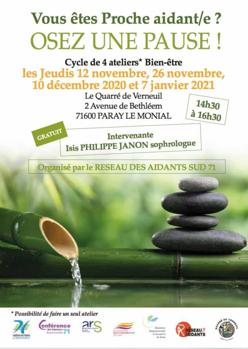 flyer cycle bien-être pour aidants à Paray le Monnial, les jeudis 12 novembre, 26 novembre, 10 décembre, et 7 janvier. Contact: 03 85 21 62 10