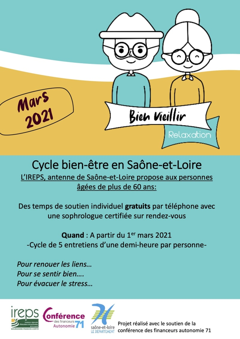 Bien dans sa tête, L'IREPS, antenne de Saône-et-Loire propose aux personnes âgées de plus de 60 ans, des temps de soutien individuel gratuits par téléphone avec une sophrologue certifiée sur RDV