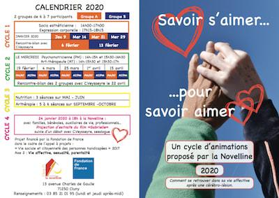 flyer savoir s'aimer pour savoir aimer, cycle d'animations proposé par la Novelline, à Cluny, renseignements: 03 85 21 01 95