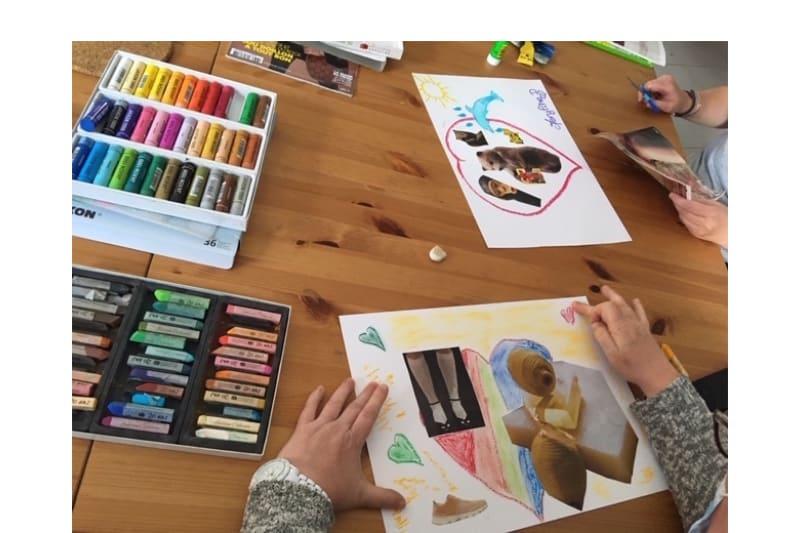 mains avec pastels