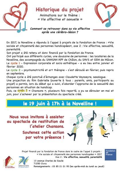 flyer verso spectacle à la Novelline, 19 juin 2021