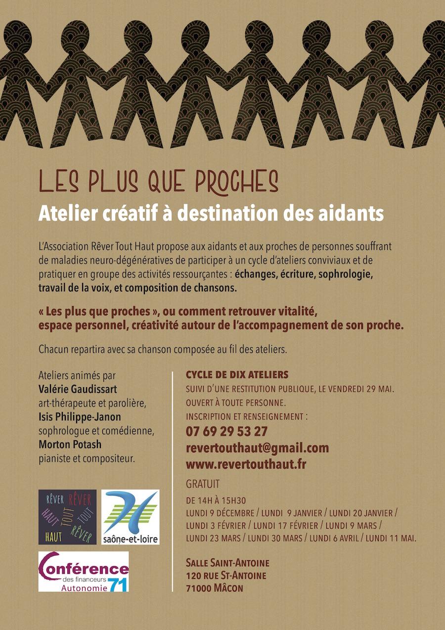 Flyer page 2, Inscription 07 69 29 53 27, cycle d'ateliers proposé aux aidants et aux proches de personnes souffrant de maladies neuro-dégénératives