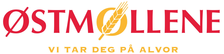 """Logo i Østmøllenes farger, med slagordet """"Vi tar deg på alvor"""" under."""