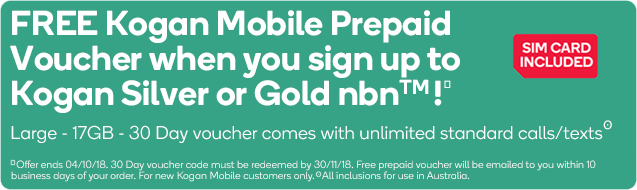 Free Kogan Mobile Prepaid Voucher
