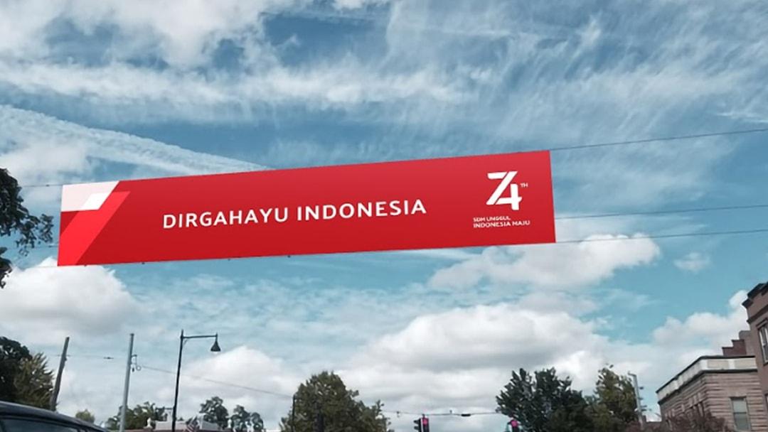 9. contoh desain cetak untuk HUT 74 TH Kemerdekaan Republik Indonesia